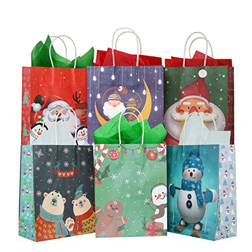 24 Pack Christmas Kraft Gift Bags with 24 Tissue Papers, Holiday Paper Gift Bags,Party Favors Goody Bags, Xmas Presents, Classrooms and Wrapping Stocking Stuffers (Merry Christmas A)
