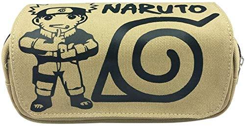 PU HUAI ZHAI Anime Double Capas Lápiz Funda Lápiz Bolígrafo Pen Bolsa para Chicos Estudiantes Adolescentes Naruto Armas (Color : NarutoB)