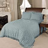 Beatrice Home Fashions Medallion Chenille, Queen, Blue