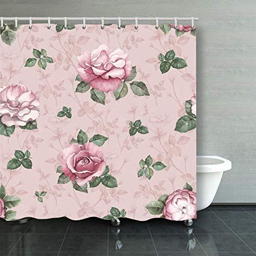 BGNHG Cortina de la Ducha Shower Curtain Watercolor Pattern Rose Illus