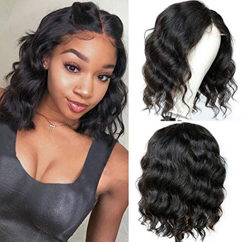 Bob Wig Body Wave Human Hair Lace Closure Wigs 12inch Brazilian Virgin Human Hair lace Front Short Wigs for Black Women Pre Plucked with Baby Hair 130% Density Natural Black Bob Wigs