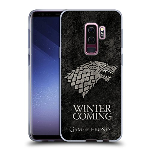 Head Case Designs Officially Licensed HBO Game of Thrones Stark Dark Distressed Look Sigils Soft Gel Case Compatible with Samsung Galaxy S9+ / S9 Plus