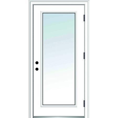 30 x 80 Prehung Front Door National Door Company ZZ04794L Fiberglass Smooth Burgundy Left Hand In-swing Clear Glass Full Lite