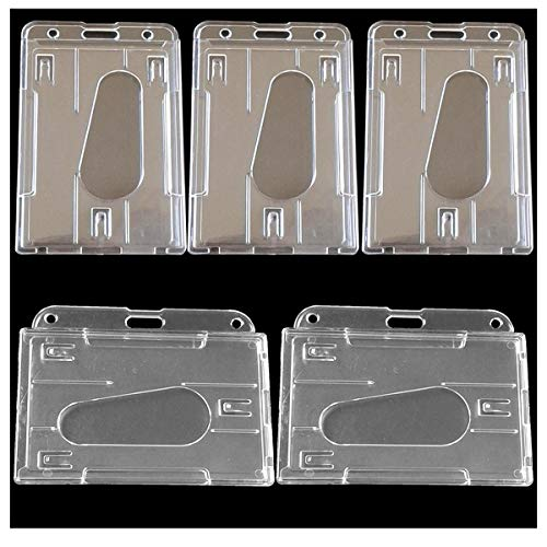 Osuter 20PCS Porta Tarjetas Duro Portatarjetas Identificativas Vertical y Horizontal ID Tarjeta Transparente para Oficinas Exposiciones
