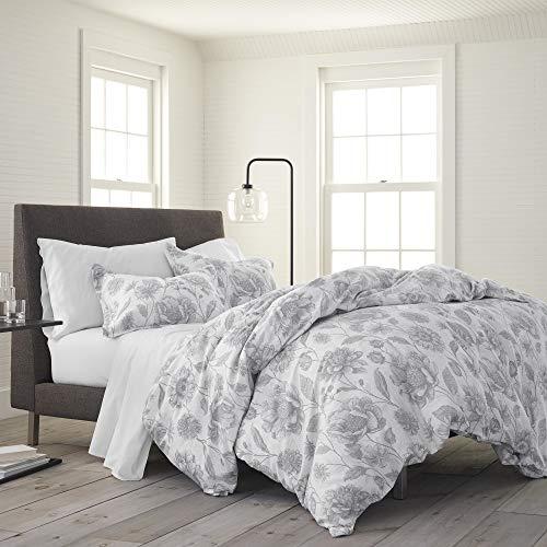 EcoPure 100% Organic Cotton Wash Meadow Walk Comforter Set, Twin, Gray