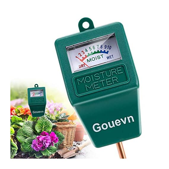 """Gouevn Soil Moisture Meter, Plant Moisture Meter Indoor & Outdoor, Hygrometer Moisture Sensor Soil Test Kit Plant Water… 1 🌼 SIMPLE and EFFECTIVE: Gouevn Soil moisture meter only for testing soil moisture, basic model works stably. Plug and read, responds quickly and provides easily readout. Large dial, ten scales. Includes watering guide for 200 plants printed on the back of the packaging. 🌼 INDOOR & OUTDOOR USE: A super helpful tool for your garden, Yard, lawn, Farm, potted plants etc. Especially is important for some delicate plants which are very sensitive to over or under watering. 🌼 LONG PROBE SENSOR: 7.7"""" probe length specifically designed for measure water at the root level, For use on any plant, even it is big potted plants."""