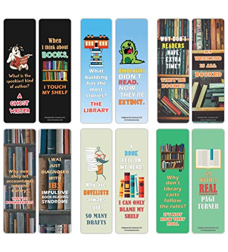 Creanoso Silly Funny Puns Reading Book Lovers Bookmarkers (60-Pack) – Six Assorted Quality Bookmarks Bulk Set – Premium Gift for Bibliophiles – Awesome Bookmarks