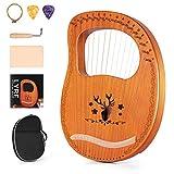 Topnaca Arpa de Lira, 16 Cuerdas de Metal, Instrumento de cuerda de madera contrachapada d...