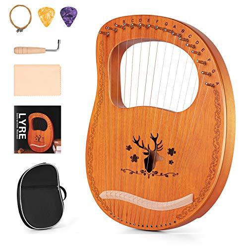 Topnaca Arpa de Lira, 16 Cuerdas de Metal, Instrumento de cuerda de madera contrachapada de caoba con llave de sintonización y bolsas de alto rendimi