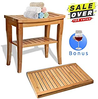 Shower Bench Seat Wooden with Bathroom Floor Mat, for Spa Bath Deluxe Organizer Stool with Storage Shelf for Seating Chair, Perfect for Indoor and Outdoor Decor, Made of 100 (Natural Bamboo)