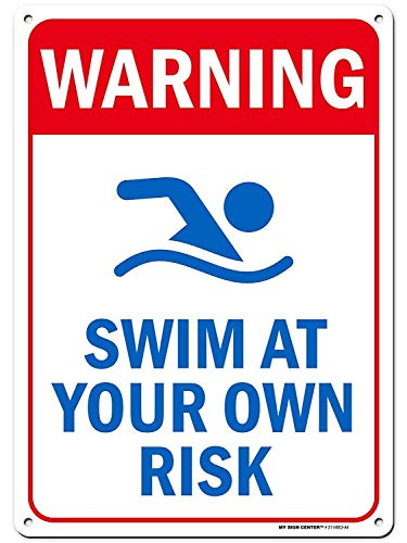 """No Brands Schild mit Aufschrift """"Warning Swim at Your Own Risk, Swimming Pool Rules"""", 25,4 x 35,6 cm, Geschenk, robustes Metall, UV-geschützt"""