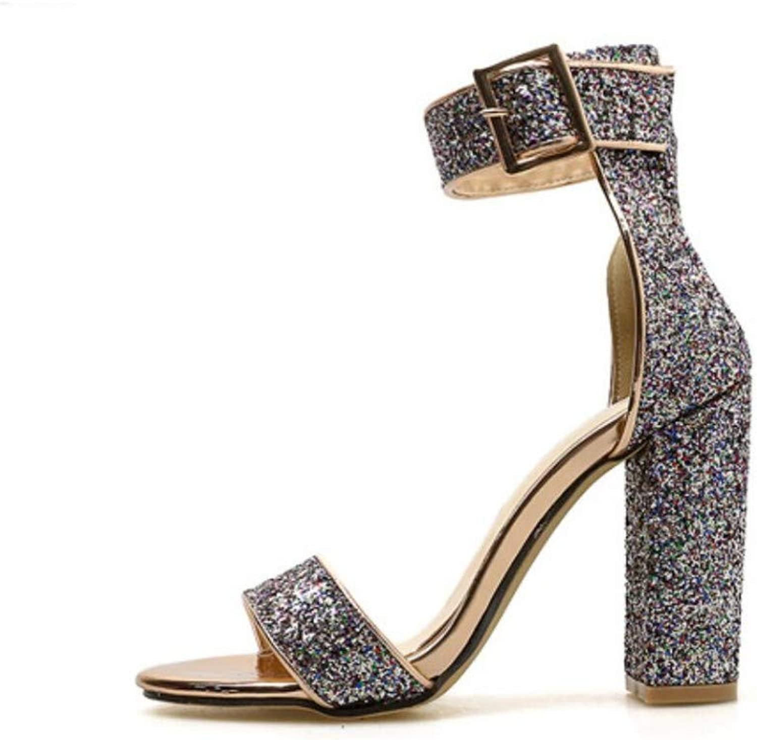 JQfashion Women's High Heel Sandals Sequins Sexy Thick with Roman shoes