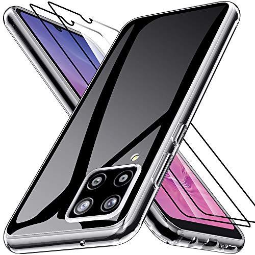 Kensou Hülle für Samsung Galaxy A42 5G mit 2 Stück Panzerglas Schutzfolie, Silikon Ultra Dünn TPU Anti-Kratzer Schock-Absorption Handyhülle für Samsung Galaxy A42 5G - Klar