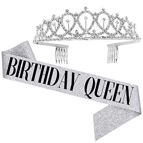 Kirmax Birthday Queen Faja y Diamantes de ImitacióN Tiara-Regalos de Cumplea?Os Faja de Cumplea?Os para Mujer Favores de Fiesta Divertidos Suministros de Fiesta de Cumplea?Os