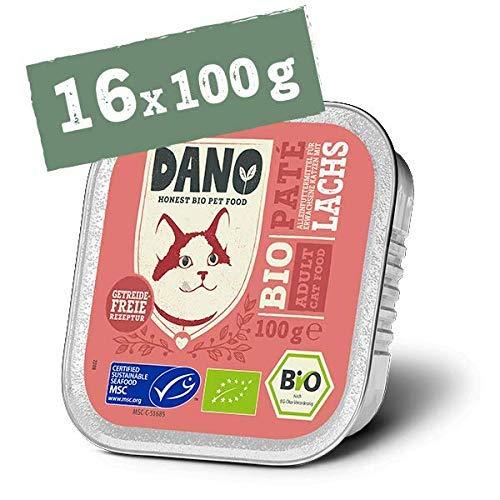 DANO Bio Katzenfutter | Getreidefreie Gourmet Pastete in der Schale | Premium Nassfutter für Katzen | mit Bio-Lachs, für jedes Alter | 16 x 100g Schalen