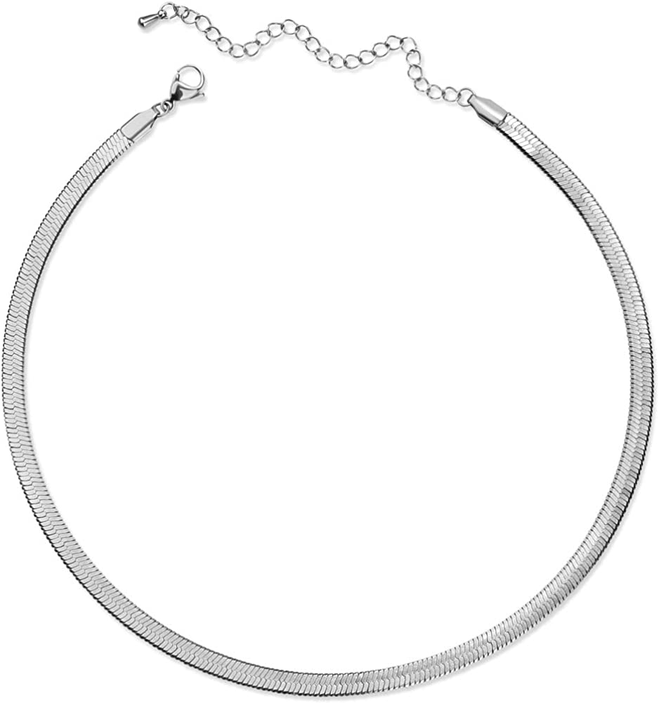 CLASSYZINT Gold Flat Chain Necklaces for Women Stainless Steel Snake Chain Cute Chokers Collar Minimalist Jewelry Simple Gift