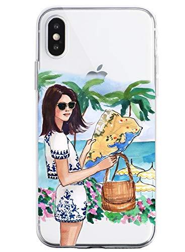 Oihxse Coque pour iPhone 6 Plus/iPhone 6S Plus, Etui en Transparente Silicone TPU 3D Protection Bumper Ultra Mince Cristal Housse avec Motif Fille D'E