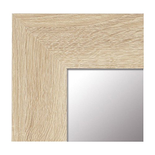Espejo de Pared Fabricado en España- Varios Tamaños y Colores - Espejo Vestidor, Salón, Baño, Entraditas- Modelo MDF8 (Haya, 65x85)