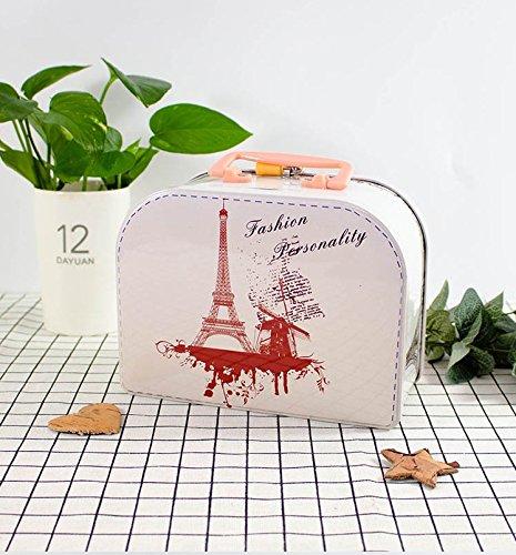 Abenily Münzen-Spardose-Geschenkbox Elegante Handtasche Sparschwein Weißblech große Kapazität Aufbewahrungsbox mit Schloss (weiß)