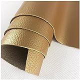 FRJKF Cuero de imitación Tela Vinilo Impermeable Paño de Cuero para Sillas cabeceros de Cama Bases tapizadas Paredes Manualidades Vende por Metros 138 x 100cm(Color:2# Golden)