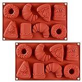 WENTS Stampo in Ailicone 2PCS Torta di Cioccolato della Gelatina del Silicone del Ghiaccio Fondente della Muffa della Muffa di Cottura Cornetto di Ciambella per celebrazioni Feste