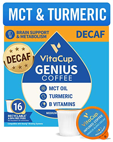 VitaCup Genius Decaf Coffee Pods 16ct w/ KETO MCT Oil, Turmeric, & Vitamins for Metabolism & Focus in Recyclable Single Serve Pod Compatible with K-Cup Brewers Including ...
