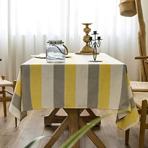 Mantel a Rayas Impermeable Mantel de Lino de algodón Puro Paño de Cocina Mantel Rectangular para Mesa de Boda Mesa 140x200cm C