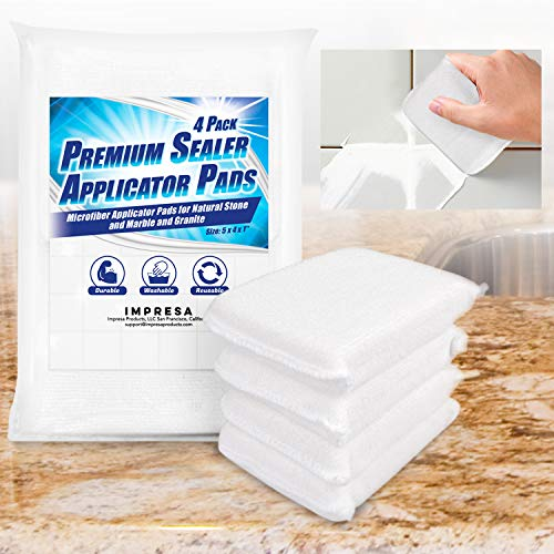 4 Pack Sealer Applicator Pad to Seal Tile, Marble, Granite, Natural Stone, Slate, Travertine and Grout Surfaces with Advanced Microfiber