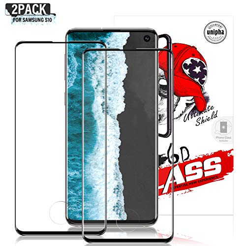 Gozhu [2-Pack] for Galaxy S10 Screen Protector Tempered Glass,[Anti-Fingerprint][No-Bubble][Scratch-Resistant] Glass Screen Protector for Samsung Galaxy S10