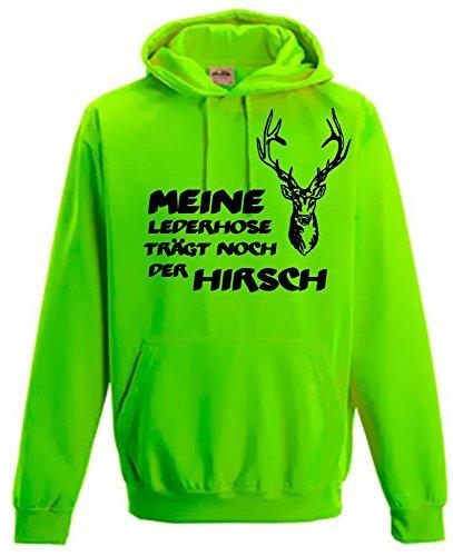 Coole-Fun-T-Shirts Meine Lederhose trägt noch der Hirsch - Oktoberfest NEON Sweatshirt, Neongreen Gr.L
