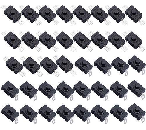 HUAYAO 40 Piezas Botón de Linterna, KAN-28 Interruptor de Botón de Bloqueo Automático, Mini Interruptor de Encendido, Perfecto para Experimentos de Electricidad y Prototipos de Reducido Tamaño