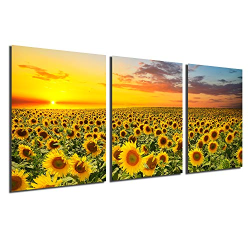 Sunflower Canvas Print Wall Art - Sunset Landscape Pictures Modern Painting Sunset Flowers Home Office Decorations Bedroom Kitchen Decor Yellow Flowers Giclee Artwork 3 Panels unframed 12x16 inch