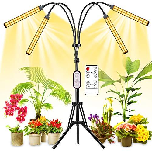 Lámpara de Plantas con Trípode ajustable 15-47 pulgadas, 192 LEDs 120W 4 Cabezales Lámpara de Crecimiento Interruptor Temporizador Auto 4/8/12H para Siembra en Crecimiento, Germinación y Floración