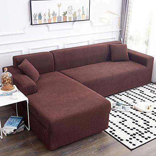 YLLN Funda de sofá elástica para Perros, 1 Pieza Funda de sofá Jacquard Funda Antideslizante Protector de sofá seccional Funda de sofá para Mascotas Café (Chaise 92-118in) + 92-118in