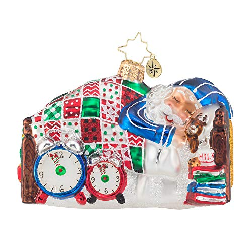 Christopher Radko Hand-Crafted European Glass Christmas Decorative Figural Ornament, Sleepy Mr. Claus