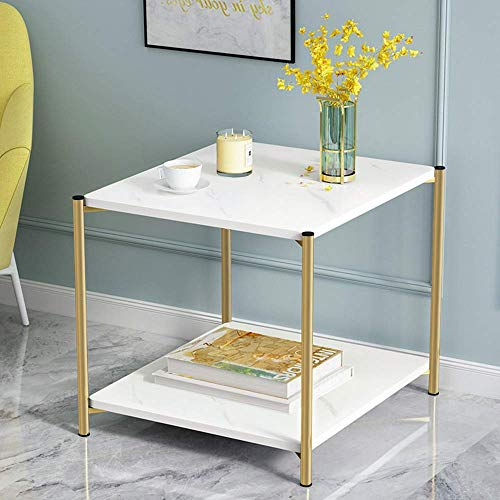 YVX 2-Tier White End Table Small Sofa Side Table Coffee Table with Storage Space, Square Nightstand Bedside Table for Living Room Bedroom Reception Limited Space 40 * 40 * 42cm