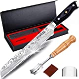 8' Bread Knife MOSFiATA Super Sharp Serrated Knife Gift Box with Sheath, Included Bread Lame and 5 Blades, German High Carbon Stainless Steel 4116 cake knife with Micarta Handle for Homemade Bread
