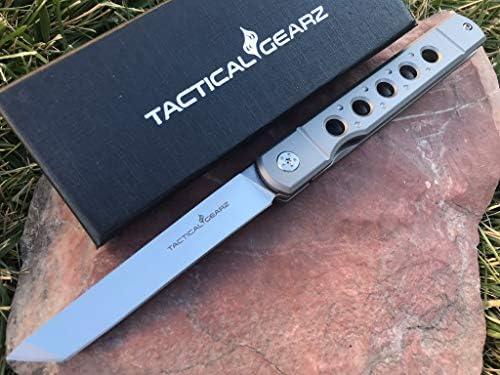 TACTICAL GEARZ TG Kyoko, Tc4 Titanium Handle! Japanese Style EDC Folding Knife w/Sheath! Polished D2 Steel Tanto Blade! Ball Bearing Pivot System! (Kyoko Blue Steel)