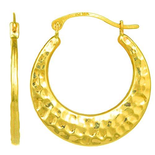 10K Gelb Gold Gehämmert Runde Creolen, Durchmesser 20mm