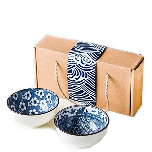Geschirr Set 2 Teilig Porzellan Schalen Set Japan Design Porzellan Schüssel Set mit Paket für Sushi Nudeln Reis Nuss Snack Keramik Schale