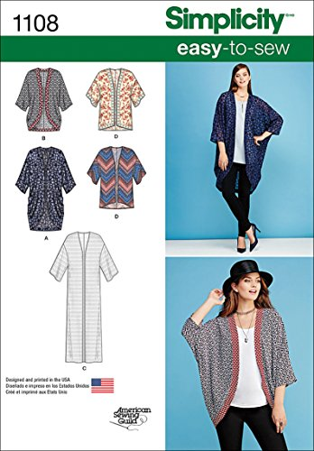 Simplicity US1108A Misses' Kimono and Cardigan Sewing Pattern Kit, Code 1108, Sizes XXS-XXL