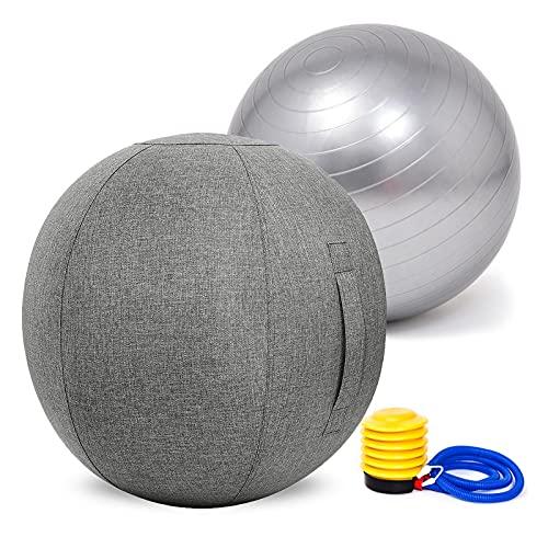 LYQCZ Pelota De Gimnasia para Yoga, Massage Balls Pelota De Pilates Yoga Ball Pelota De Ejercicio Gym Ball para Fitness, Yoga, Pilates, Embarazo Y Sentarse(Color:Gray Gray,Size:75cm)