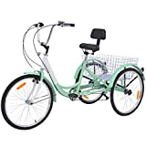 "Slsy Adult Tricycles 7 Speed, Adult Trikes 20/24 / 26 inch 3 Wheel Bikes, Three-Wheeled Bicycles Cruise Trike with Shopping Basket for Seniors, Women, Men. (Light Sea Green, 24"" Wheels/ 7-Speed)"