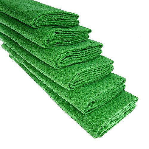 6 x Torchon en coton piqué gaufré en vert Torchon de cuisine Chiffon Manique