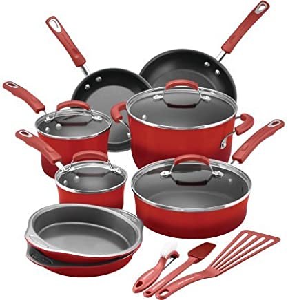Rachael Ray 15-Piece Hard Enamel Nonstick Cookware Set, Red