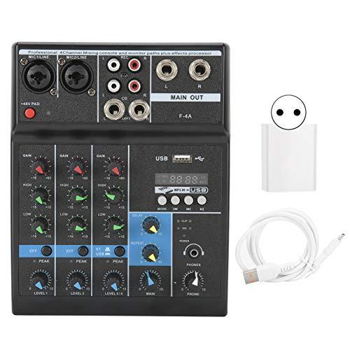 Agatige Mixer Audio Sistema Console Scheda Audio, Interfaccia Professionale 4 Canali Digitali USB Bluetooth MP3 Computer Input 48V Power Stereo DJ Processor(Spina UE)