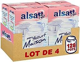 Alsa Préparation Mon Yaourt Maison 128 Pots (Lot de 4x32 Pots)