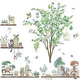 Suprosper ウォールステッカー 北欧 木 鳥 おしゃれ 30*90cm 4枚 壁紙シール グリーン 鉢植え 剥がせる 壁飾り リビングルームインテリア シール(木 鉢植え)