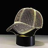 Boutiquespace 7 colores cambiar niño dormitorio decoración luz 3d sombrero gorra de béisbol led deporte escritorio lámpara de mesa bebé dormir noche luz niño navidad regalos