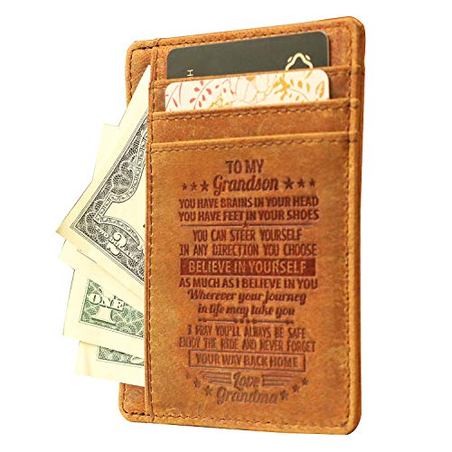"""""""To my Grandson"""",Custom Engraved Front Pocket Leather Card Wallet,Gift for Grandson on Christmas Day"""